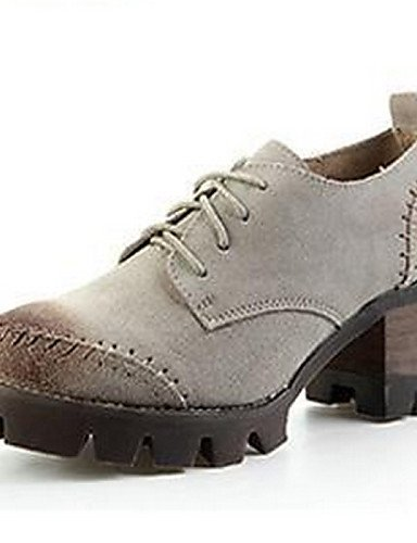 NJX/ Damenschuhe - Oxfords - Lässig - Kunstleder - Blockabsatz - Rundeschuh - Braun / Beige brown-us6.5-7 / eu37 / uk4.5-5 / cn37