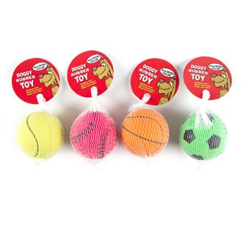 DOG TOY SPORTS BALL 2.5 INCH DIA 4 ASSORTED IN PDQ, Case Pack of 68