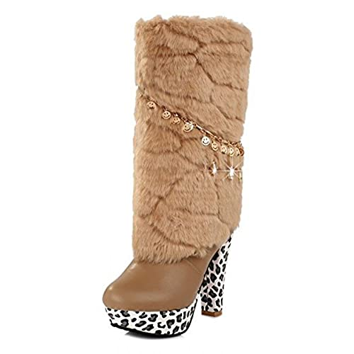 Women's Sexy Waterproof Faux Fur Lined Chains Mid Calf Pull On Chunky High Heel Platform Winter Boots