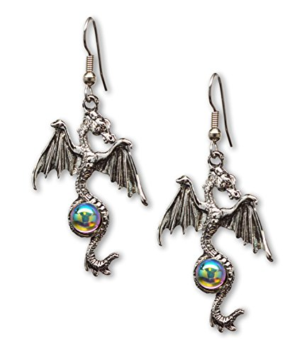 - Gothic Dragon Dangle Earrings Silver Finish Pewter Mystical Jewelry