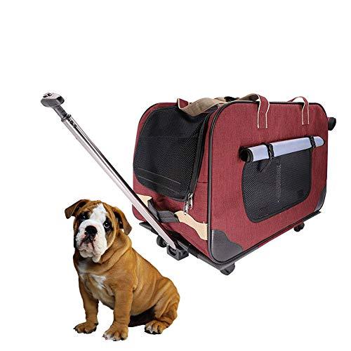 DJLOOKK Pet Stroller Foldable, Pet Trolley Case Lightweight Breathable Nylon Grid, 2 Detachable Swivel Wheels Pushchair Pram Jogger for Puppy Cat Pets,Red -