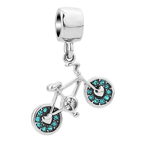 JewelryHouse Silver Plated Bicycle Bike Charms for Bracelet And Necklace (Green) (Bike Charm Pandora)