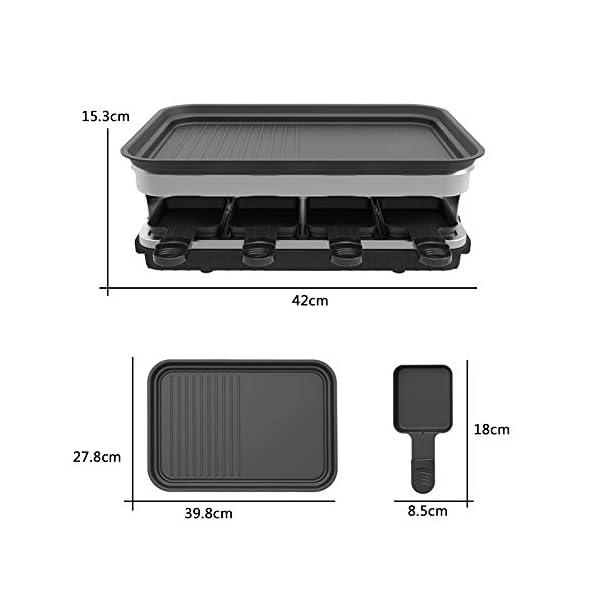 Raclette 8 Persone Piastra Raclette Grill in Alluminio, 8 Pentolini da Raclette, Calore Regolabile Continuo Termostato… 6