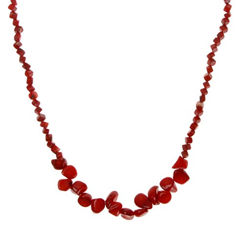 ZLYC Women Handmade Dyed Irregular Shape Coral Stone Strand Bib Necklace Jewelry, Red