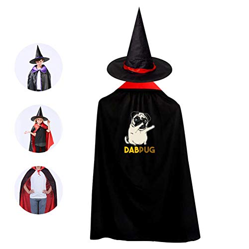 Kids DAB Pug Halloween Costume Cloak for Children Girls Boys Cloak and Witch Wizard Hat for Boys Girls Red]()