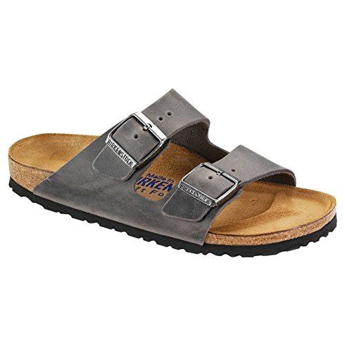 Birkenstock Unisex Arizona Iron Oiled Leather Sandals - 41 M EU/10-10.5 B(M) US Women/8-8.5 B(M) US Men