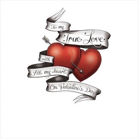 Día de San Valentín tarjeta – tatuaje estilo – a mi True Love, con ...