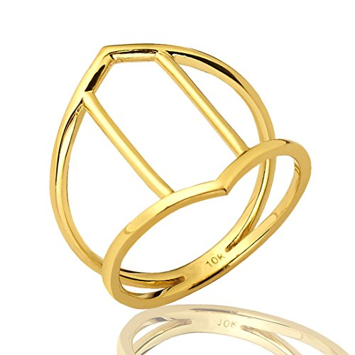 Mr. Bling 10K Yellow Gold Hexagon Cut Out Geometric Design Ring, Available in Sizes 5-9 (9)