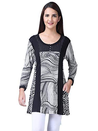 (Parsley & Sage Women's Dawn Black & White Tunic Top (Medium))