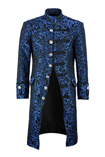 Darkrock Mens Jacket Velvet Goth Steampunk Victorian Frock Coat Handmade (Medium, Blue Brocade)