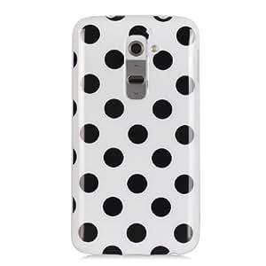 New Case for LG G2 Flexible Soft Gel Polka Dot TPU Slim Back Cover-White(Random Gift 2 PCS Cartoon Sticker)
