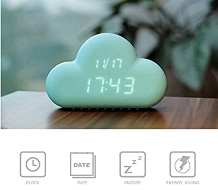 Gerteise Mini Cloud Alarm Clock Voice control Cloud Digital Alarm Clock USB Battery Operated Temperature/