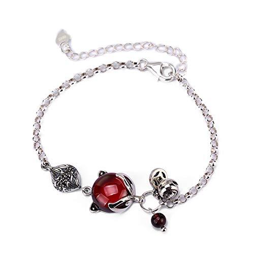 Silver Garnet Cuff - 925 Sterling Silver Red Garnet Fox Chain Bracelet For Women, Charm Link Bracelet, Cuff Bracelet For Women, Adjustable Fashion Animal Bracelet, Birthstone Jewelry