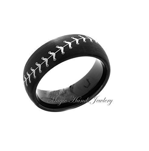 Satin Tungsten Hers (Black Tungsten Ring, Baseball Ring, Sport ring, 8mm, Dome, Satin Finished, Mens Ring, Mens Wedding Band, Tungsten Wedding Ring, Ring For Him, Ring for Her, Free Laser Engraving)