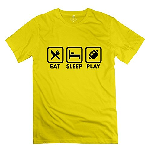 Male Eat Sleep Play Football / Rugby O Neck Tshirt Yellow Size S Quotes By Rahk
