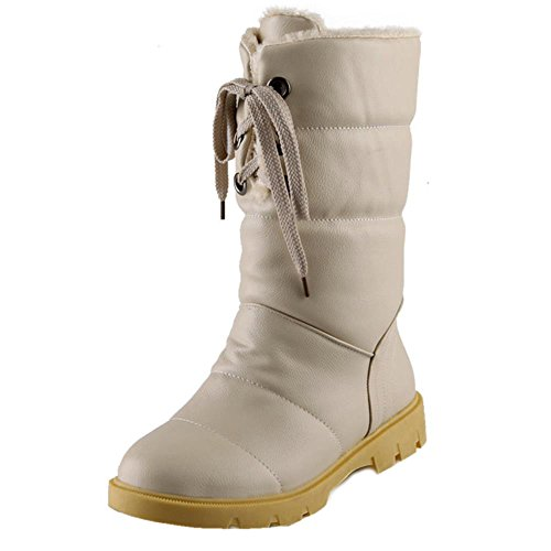 COOLCEPT Women Casual Warm Lining Winter Ankle High Dress Boots Warterproof Beige