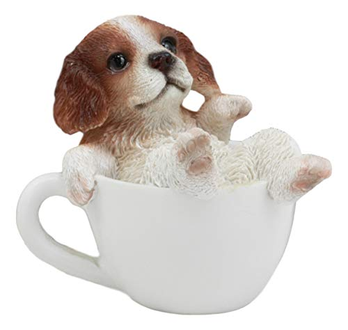 Ebros Mini Adorable Cavalier King Charles Spaniel Dog Teacup Statue 2.5