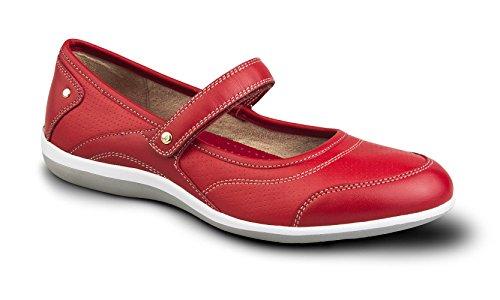 Zapato Confort Revere Adelaide Para Mujer, Con Soporte Extraíble Y Correa Ajustable: Rojo 10 Velcro Medio (b)
