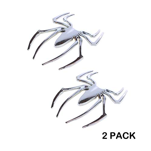 (Waterproof Self-sticking 3D Metal Car Decals Silver Motorcycle Decals Cartoon Spider Premium Metal Automotive Decals, Light, No Shrinkage, No Rust Metal Car Decorative Spiderman Stickers 2 Pack)