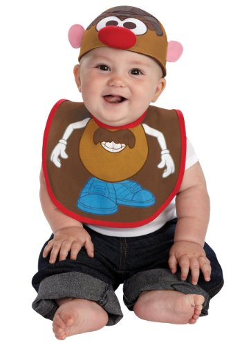 Disguise Costumes Drool Over Me Hasbro Mr Potato Head Infant Bib and Hat  Accessory, Brown/Blue/Red/White, 0-12 Months -