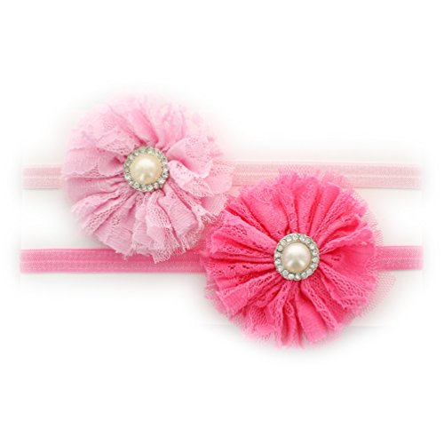 My Lello Infant Baby Shabby Lace and Tulle Flowers w/ Rhinestone Pearl Center on Stretchy Elastic Headbands Pair (Light Pink/Hot (Flower Rhinestone Center)
