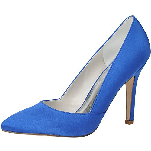 Del Tallone Donne Loslandifen Delle Eleganti Pompe Alti Sottolineato Tacchi Blu Raso Del qwAPnFH8P