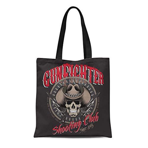(Semtomn Cotton Canvas Tote Bag Gunfighter Skull in Cowboy Hat Two Crossed Gun Reusable Shoulder Grocery Shopping Bags Handbag Printed)