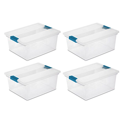 (Sterilite Deep Clip Box Clear Plastic Storage Tote Container with Lid, 4 Pack)