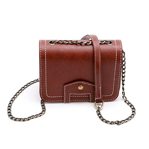 Best-topshop Square Shoulder Bag for Women Girls, Retro Button Leather Travel Camp Casual Pouch Purse for Shopping Party School Outdoor (Brown)