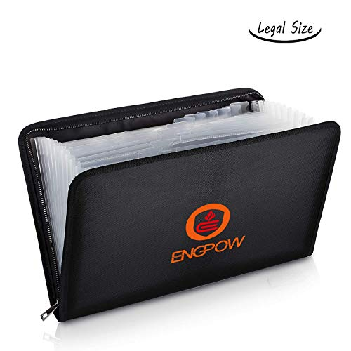 Legal Size Expanding File Folder Important Document Organizer Fireproof Document Bag with 13 Pockets,Color Labels,Non-Itchy Silicone Coated Portable -