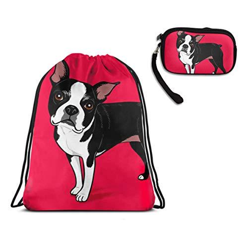 School Drawstring Bag, Lightweight Shoulder Backpack - Boston Terrier Dog Drawstring Rucksack, Large Water Resistant Shoulder Backpack + Clutch Purse Make Up Bag -