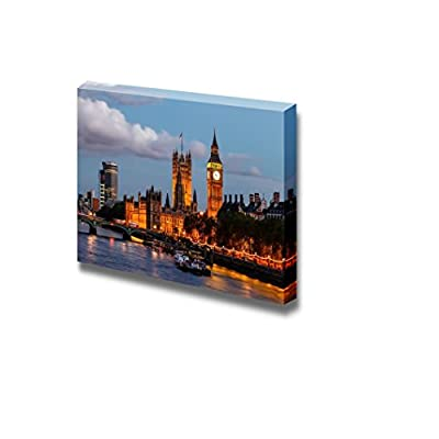 Big Ben and Westminster Bridge in The Evening London United Kingdom - Canvas Art Wall Art - 24