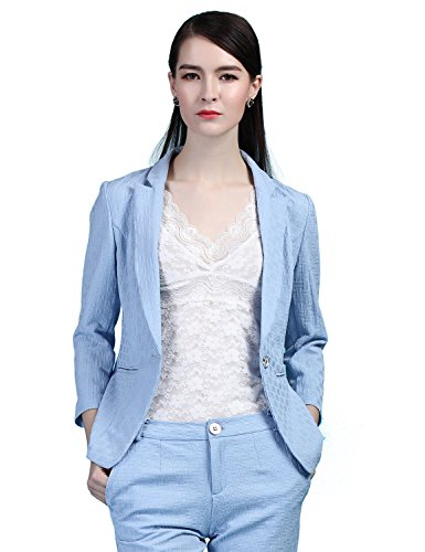 Maxchic Women's V-neck One Button Glen-Check Embossed Blazer Jacket