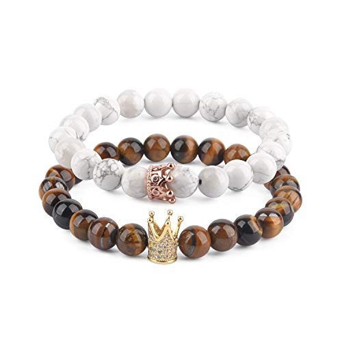 Believe London Distance Bracelets with Jewelry Bag & Meaning Card | Strong Elastic | Friendship Relationship Couples His Hers | Black Agate Onyx White (CZ Crown 7