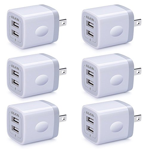 2 Port Charging Box, Ailkin 6-Pack USB Charger Plug Block, Fast Charging Brick Compatible with iPhone 7/7 Plus,iPhone 6/6plus, Samsung Galaxy S7/S6, Sony, Motorola, HTC, LG Android Tablets and More