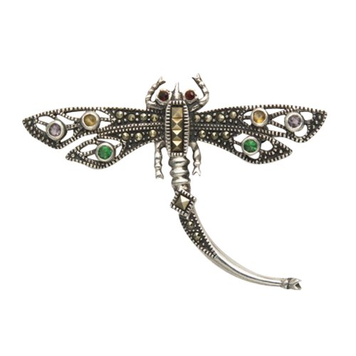 (Sterling Silver & Marcasite Dragonfly Pin w/Filigree Wings & Mixed Color)