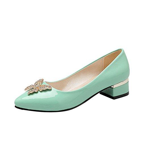 Latasa Mode Féminine Papillon Pointu Bas Talon Chunky Synthétique En Cuir Verni Pompes Chaussures Vert Menthe