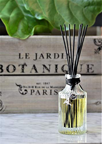 Iris Gardenia Perfume - Manu Home Paris Le Jardin Reed Diffuser Giftset | Made with Fresh Notes of Gardenia, Daffodils, Iris and Jasmine | Elegant Reusable Bottle, Beautiful Charm and Black Reed Rattan Sticks | Made in USA