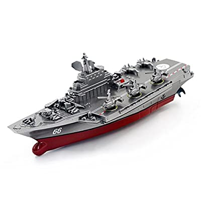 Qiyun 2.4G Remote Control Military Warship Model Electric Toys Waterproof Mini Aircraft Carrier/Coastal Escort Gift for Kids Silver grey Aircraft Carrier