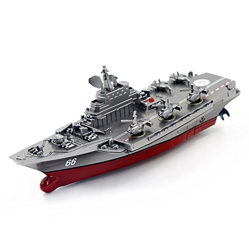 Qiyun Electric Toys Remote Control Military Warship Model 2.7G Waterproof Mini Aircraft Carrier/Coastal Escort Gift for Kids Silver grey Aircraft Carrierspecification:Silver grey Aircraft (Remote Control Warship)