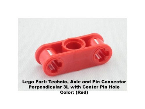 Lego Parts: Technic, Axle and Pin Connector Perpendicular 3L with Center Pin Hole (Red)