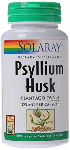 Psyllium Husk 100 Capsules - Solaray Psyllium Husk Capsules, 525 mg, 100 Count