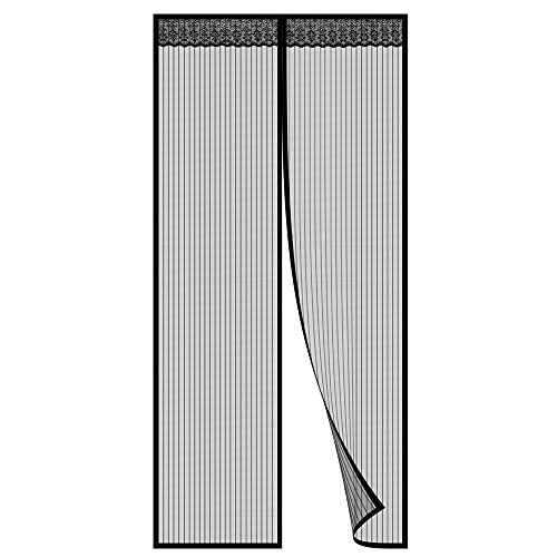 Magnetic Screen Door Mesh Curtain, Full Frame Velcro Fits Door Up To 36x82, Keep Bugs Out, Automatically Tight Closure Hand Free Black