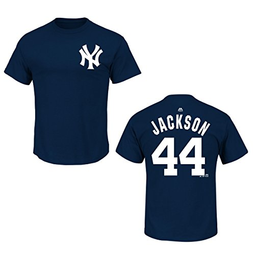 (Majestic New York Yankees Reggie Jackson Navy Blue Name and Number T-Shirt (S))