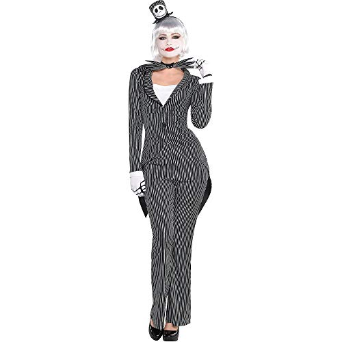 Jack Skellington Female Costume (Party City The Nightmare Before Christmas Jack Skellington Halloween Costume for Women, Large, with Included Accessories Black,)