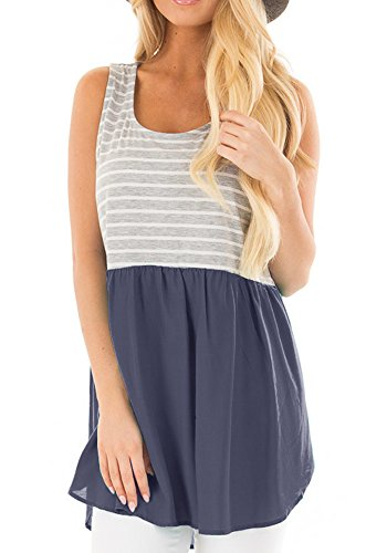 Baby Tank Doll Tunic (BOCOTUBE Women's Sleeveless Stripe with Solid Contrast Baby Doll Peplum Tunic Tank Tops,Navy,X-Large)