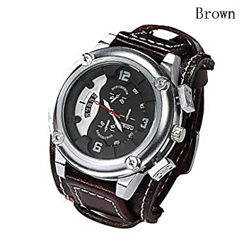Bella relojes, Hombres de piel auténtica banda ancha relojes grandes calendario deportivo de tamaño reloj impermeable reloj de epoca (colores surtidos), ...