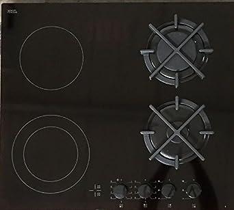 Hybrid Kombi Gaskochfeld 60cm 2 Gaszonen 2 High Light Zweikreiskochzonen