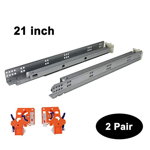 2 Pairs Self Soft Close Under/Bottom Rear Mounting Drawer Slides 21 inch Concealed Drawer Runners;Locking Devices;Rear Mounting Brackets;Screws and Instructions