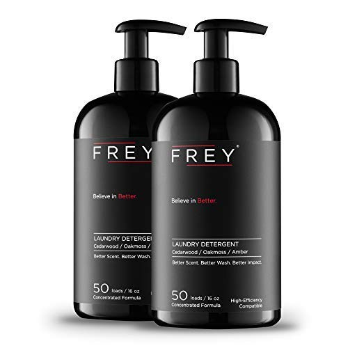 FREY Concentrated Natural Laundry Detergent - 2 Pack, 100 Concentrated Loads of Long Lasting High Efficiency Liquid Laundry Detergent (Cedarwood Bold Fragrance)